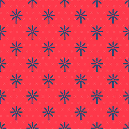 Blue line Firework icon isolated seamless pattern on red background. Concept of fun party. Explosive pyrotechnic symbol. Vector Çizim