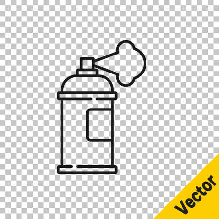 Black line Paint spray can icon isolated on transparent background. Vector