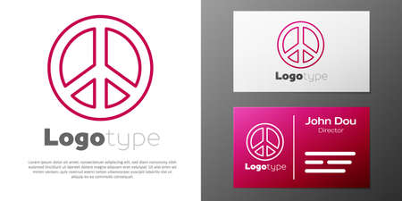 Logotype line Peace icon isolated on white background. Hippie symbol of peace. Logo design template element. Vector