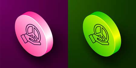 Isometric line Peace icon isolated on purple and green background. Hippie symbol of peace. Circle button. Vector