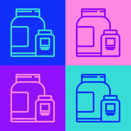 Pop art line Sports nutrition bodybuilding proteine power drink and food icon isolated on color background. Vector