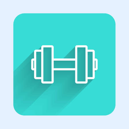 White line Dumbbell icon isolated with long shadow. Muscle lifting icon, fitness barbell, gym, sports equipment, exercise bumbbell. Green square button. Vector Çizim