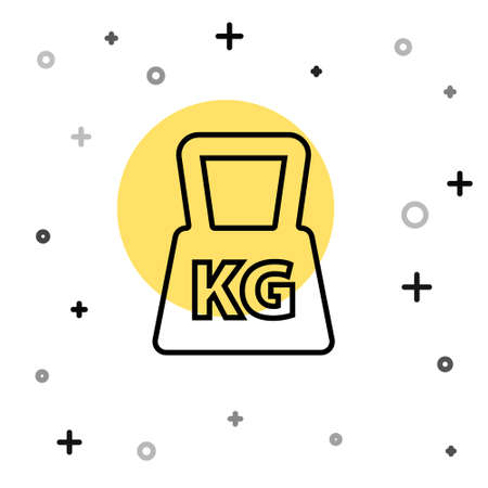 Black line Weight icon isolated on white background. Kilogram weight block for weight lifting and scale. Mass symbol. Random dynamic shapes. Vector