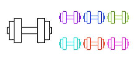 Black line Dumbbell icon isolated on white background. Muscle lifting icon, fitness barbell, gym, sports equipment, exercise bumbbell. Set icons colorful. Vector