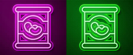 Glowing neon line Beans in can icon isolated on purple and green background. Vector