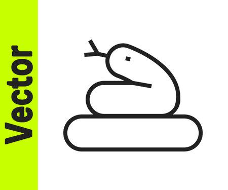 Black line Snake icon isolated on white background. Vector Çizim