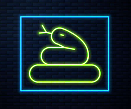 Glowing neon line Snake icon isolated on brick wall background. Vector