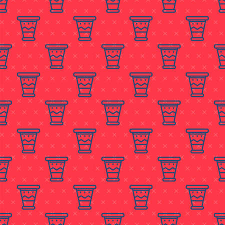 Blue line Mexican drum icon isolated seamless pattern on red background. Music sign. Musical instrument symbol. Vector