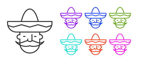 Black line Mexican man wearing sombrero icon isolated on white background. Hispanic man with a mustache. Set icons colorful. Vector