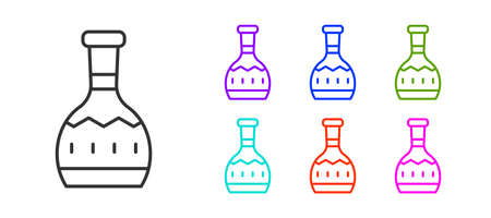 Black line Tequila bottle icon isolated on white background. Mexican alcohol drink. Set icons colorful. Vector Çizim