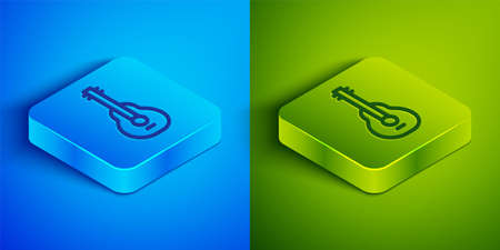 Isometric line Mexican guitar icon isolated on blue and green background. Acoustic guitar. String musical instrument. Square button. Vector