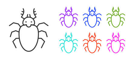 Black line Beetle deer icon isolated on white background. Horned beetle. Big insect. Set icons colorful. Vector