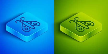 Isometric line Butterfly icon isolated on blue and green background. Square button. Vector
