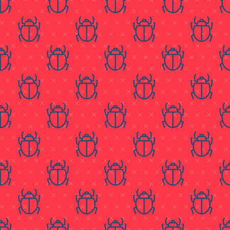 Blue line Mite icon isolated seamless pattern on red background. Vector Çizim