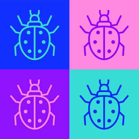 Pop art line Mite icon isolated on color background. Vector