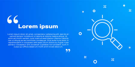 White line Magnifying glass icon isolated on blue background. Search, focus, zoom, business symbol. Vector Çizim