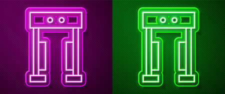 Glowing neon line Metal detector icon isolated on purple and green background. Airport security guard on metal detector check point. Vector Çizim