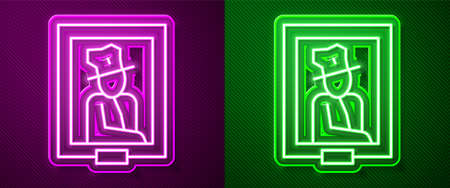 Glowing neon line Portrait picture in museum icon isolated on purple and green background. Vector Illustration