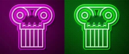 Glowing neon line Ancient column icon isolated on purple and green background. Vector