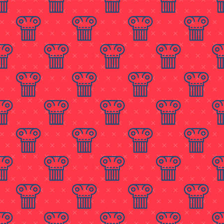Blue line Ancient column icon isolated seamless pattern on red background. Vector