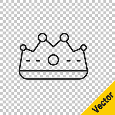 Black line King crown icon isolated on transparent background. Vector