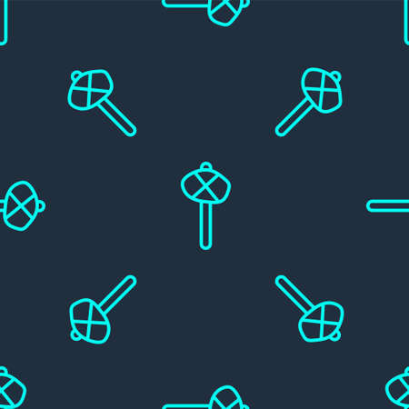 Green line Stone age hammer icon isolated seamless pattern on blue background. Vector