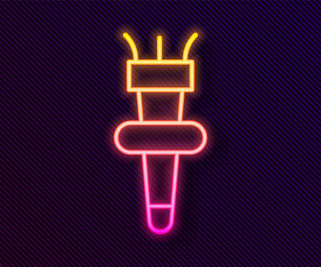 Glowing neon line Torch flame icon isolated on black background. Symbol fire hot, flame power, flaming and heat. Vector Çizim