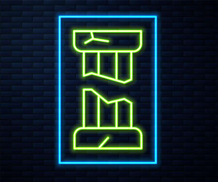 Glowing neon line Broken ancient column icon isolated on brick wall background. Vector