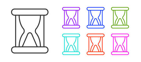 Black line Old hourglass with flowing sand icon isolated on white background. Sand clock sign. Business and time management concept. Set icons colorful. Vector Çizim