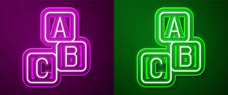 Glowing neon line ABC blocks icon isolated on purple and green background. Alphabet cubes with letters A,B,C. Vector