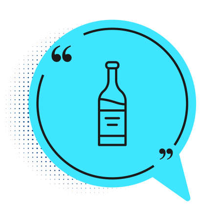 Black line Bottle of wine icon isolated on white background. Blue speech bubble symbol. Vector