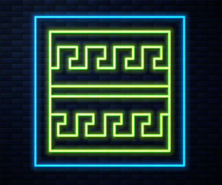 Glowing neon line Ancient Greek pattern icon isolated on brick wall background. Vector