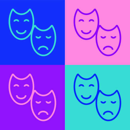 Pop art line Comedy and tragedy theatrical masks icon isolated on color background. Vector Çizim
