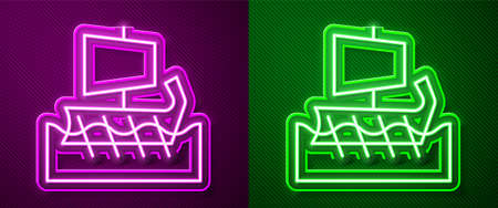 Glowing neon line Ancient Greek trireme icon isolated on purple and green background. Vector
