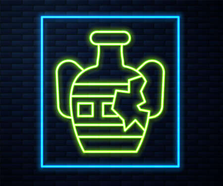 Glowing neon line Broken ancient amphorae icon isolated on brick wall background. Vector Çizim