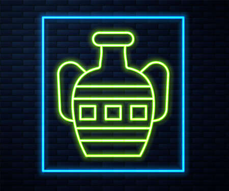 Glowing neon line Ancient amphorae icon isolated on brick wall background. Vector