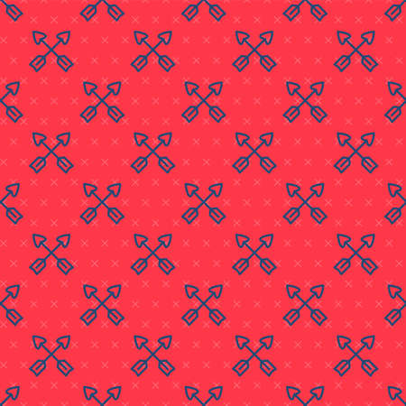 Blue line Crossed arrows icon isolated seamless pattern on red background. Vector Ilustracja