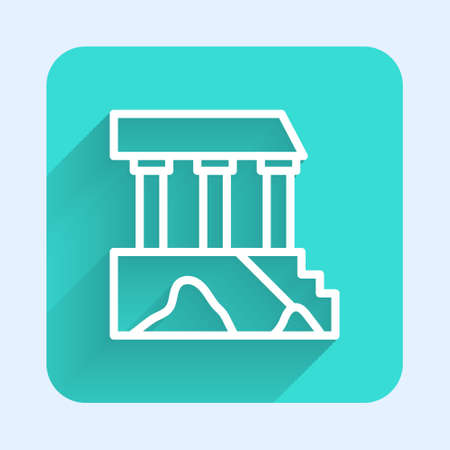 White line Parthenon from Athens, Acropolis, Greece icon isolated with long shadow. Greek ancient national landmark. Green square button. Vector