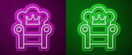 Glowing neon line Medieval throne icon isolated on purple and green background. Vector