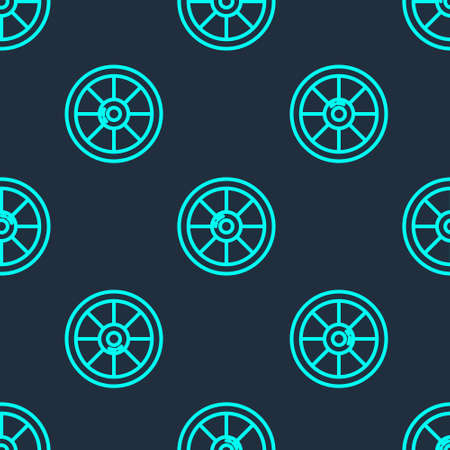 Green line Round wooden shield icon isolated seamless pattern on blue background. Security, safety, protection, privacy, guard concept. Vector Çizim