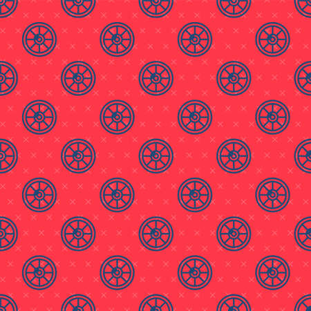 Blue line Round wooden shield icon isolated seamless pattern on red background. Security, safety, protection, privacy, guard concept. Vector