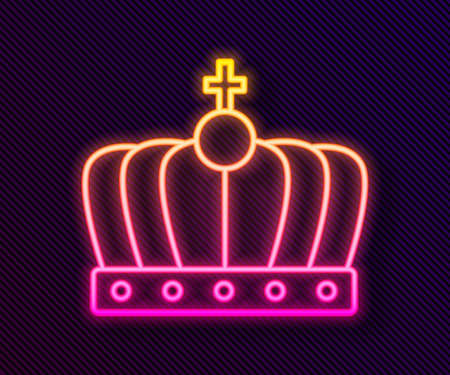 Glowing neon line King crown icon isolated on black background. Vector