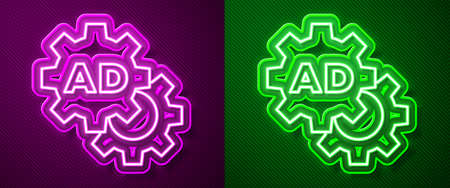 Glowing neon line Advertising icon isolated on purple and green background. Concept of marketing and promotion process. Responsive ads. Social media advertising. Vector