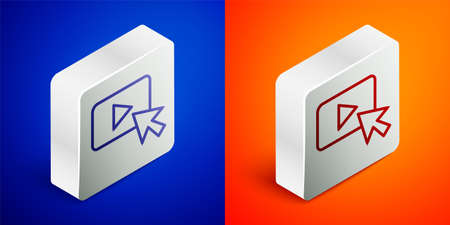 Isometric line Advertising icon isolated on blue and orange background. Concept of marketing and promotion process. Responsive ads. Social media advertising. Silver square button. Vector