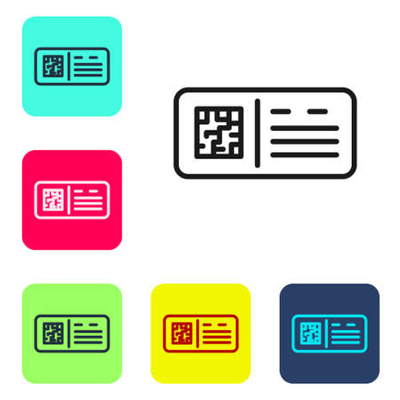 Black line QR code ticket train icon isolated on white background. Set icons in color square buttons. Vector Çizim