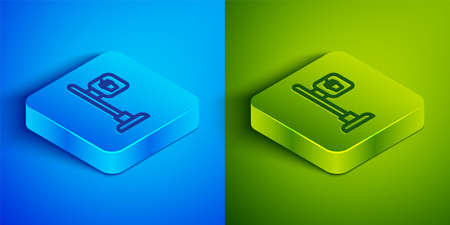 Isometric line Cafe and restaurant location icon isolated on blue and green background. Fork and spoon eatery sign inside pinpoint. Square button. Vector.