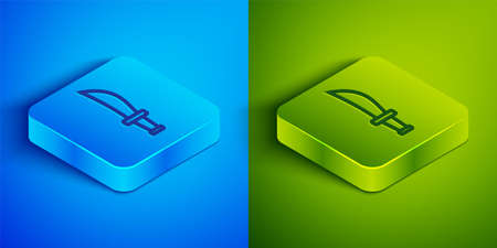 Isometric line Pirate sword icon isolated on blue and green background. Sabre sign. Square button. Vector