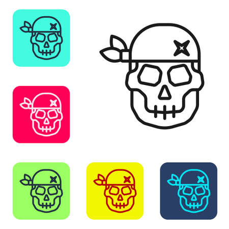 Black line Skull icon isolated on white background. Happy Halloween party. Set icons in color square buttons. Vector Ilustracja
