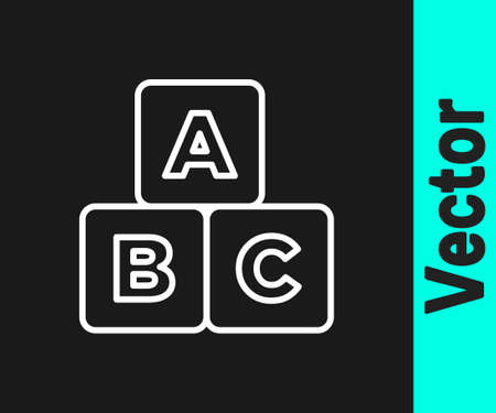 White line ABC blocks icon isolated on black background. Alphabet cubes with letters A,B,C. Vector