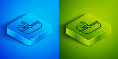 Isometric line Baby stroller icon isolated on blue and green background. Baby carriage, buggy, pram, stroller, wheel. Square button. Vector Çizim